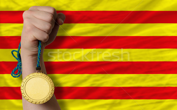 Gold medal for sport and  national flag of  of catalonia    Stock photo © vepar5