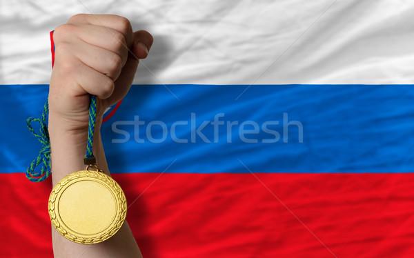Gold medal for sport and  national flag of slovenia Stock photo © vepar5