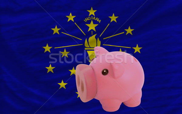 piggy rich bank and  flag of american state of indiana    Stock photo © vepar5