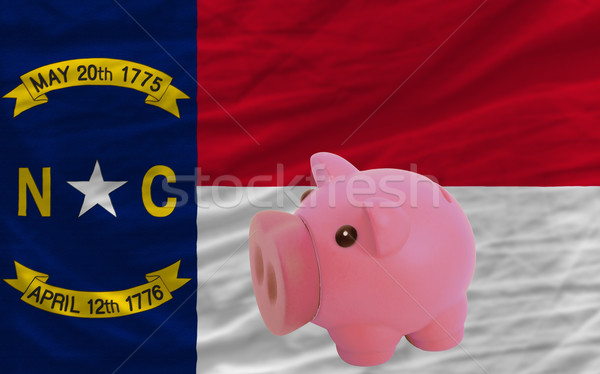 piggy rich bank and  flag of american state of north carolina    Stock photo © vepar5
