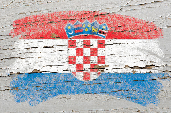 flag of Croatia on grunge wooden texture painted with chalk   Stock photo © vepar5