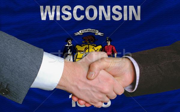 Americano bandeira ocidente Wisconsin dois empresários Foto stock © vepar5