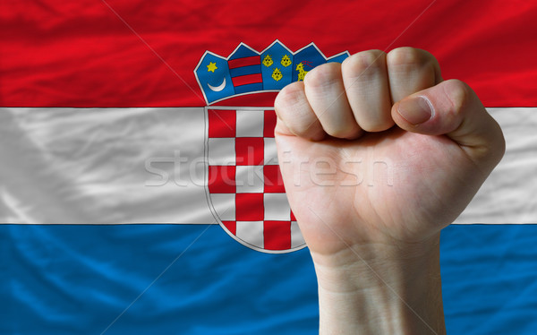 Hard fist in front of croatia flag symbolizing power Stock photo © vepar5