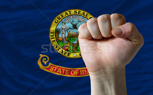 us state flag of idaho with hard fist in front of it symbolizing Stock photo © vepar5