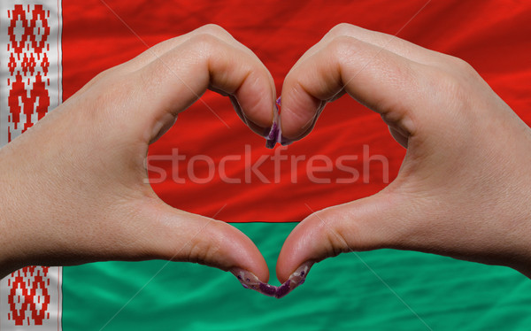 over national flag of belarus showed heart and love gesture made Stock photo © vepar5