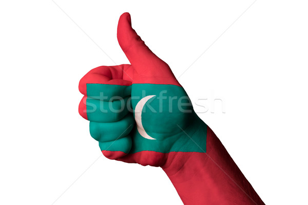 Maldivas bandeira polegar para cima gesto excelência Foto stock © vepar5
