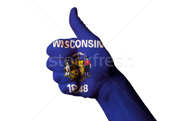 wisconsin us state flag thumb up gesture for excellence and achi Stock photo © vepar5