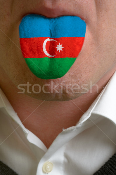 man tongue painted in azerbaijan flag symbolizing to knowledge t Stock photo © vepar5