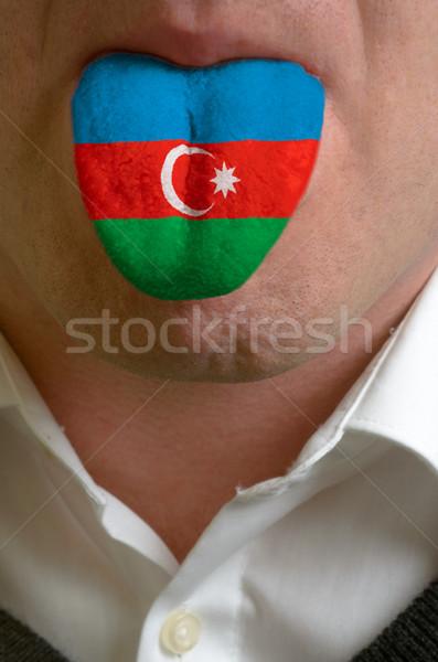 Man tong geschilderd Azerbeidzjan vlag kennis Stockfoto © vepar5
