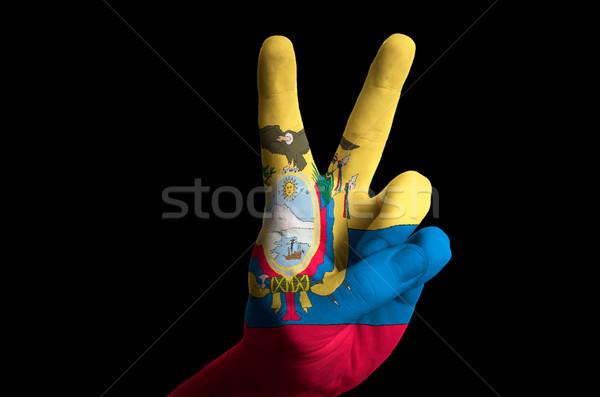 Эквадор флаг два пальца вверх жест Сток-фото © vepar5