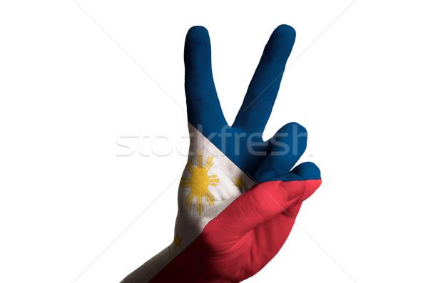 フィリピン フラグ 2 指 アップ ジェスチャー ストックフォト © vepar5