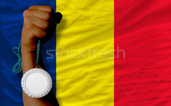 Silver medal for sport and  national flag of  of chad    Stock photo © vepar5