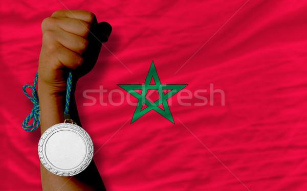Prata medalha esportes bandeira Marrocos Foto stock © vepar5