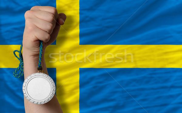 Zilver medaille sport vlag Zweden Stockfoto © vepar5