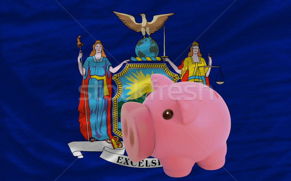 piggy rich bank and  flag of american state of new york    Stock photo © vepar5
