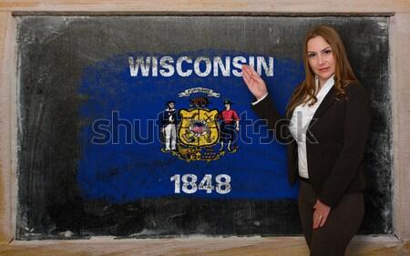 Bayrak Wisconsin tahta boyalı tebeşir amerikan Stok fotoğraf © vepar5