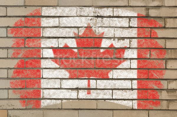 Pavillon Canada grunge mur de briques peint craie Photo stock © vepar5