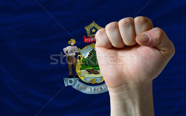 us state flag of maine with hard fist in front of it symbolizing Stock photo © vepar5