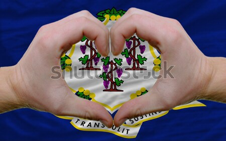 Heart and love gesture showed by hands over flag of sri lanka  Stock photo © vepar5