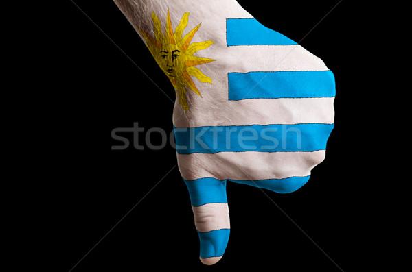 Uruguai bandeira para baixo gesto falha Foto stock © vepar5