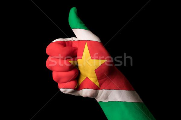 Bandera pulgar hasta gesto excelencia mano Foto stock © vepar5