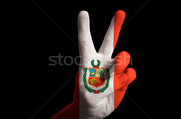 peru national flag two finger up gesture for victory and winner  Stock photo © vepar5