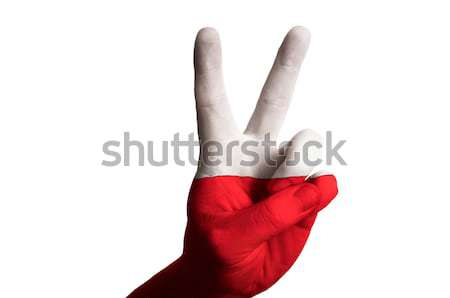 poland national flag two finger up gesture for victory and winne Stock photo © vepar5