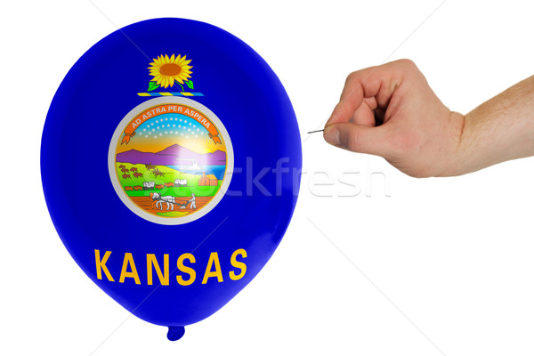 Bursting balloon colored in  flag of american state of kansas    Stock photo © vepar5