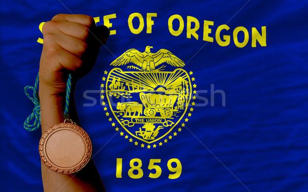 Bronzen medaille sport vlag amerikaanse Oregon Stockfoto © vepar5