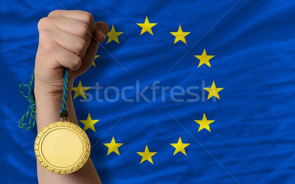 Aranyérem sport zászló Európa nyertes tart Stock fotó © vepar5