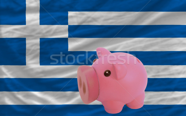 piggy rich bank and  national flag of greece    Stock photo © vepar5