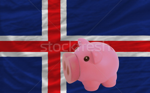 piggy rich bank and  national flag of iceland    Stock photo © vepar5