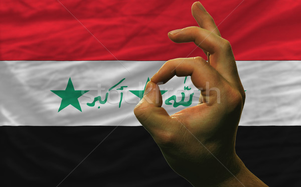 ok gesture in front of iraq national flag Stock photo © vepar5