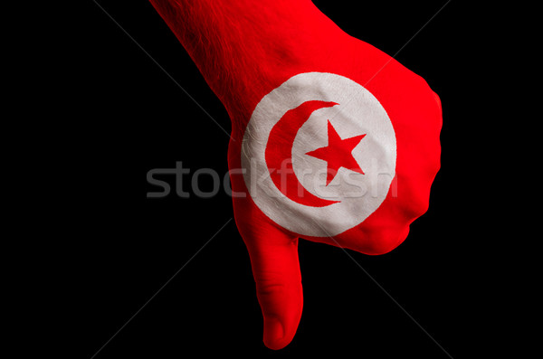 tunisia national flag thumbs down gesture for failure made with  Stock photo © vepar5