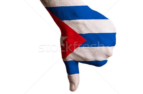 Куба флаг большой палец руки вниз жест провал Сток-фото © vepar5