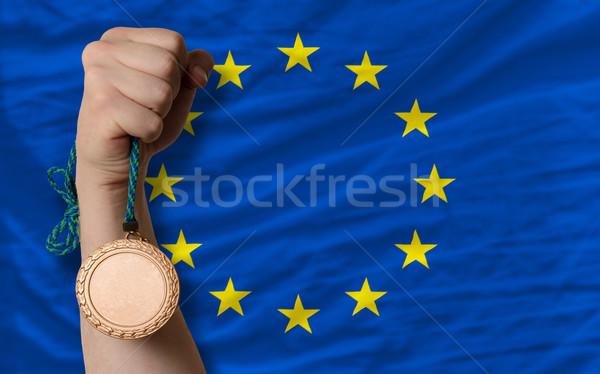 Bronze medal for sport and  national flag of europe    Stock photo © vepar5