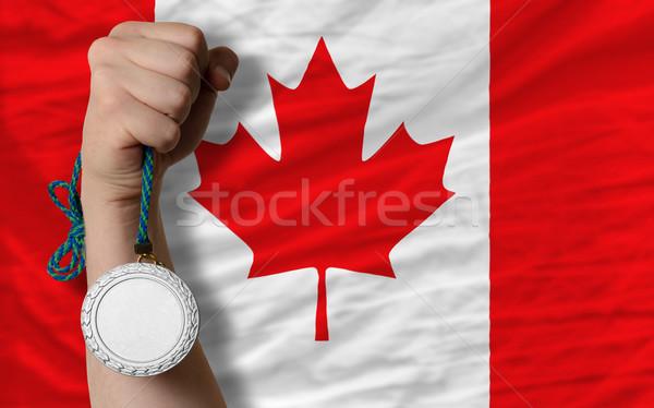Gümüş madalya spor bayrak Kanada Stok fotoğraf © vepar5
