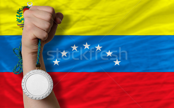 Silver medal for sport and  national flag of venezuela    Stock photo © vepar5