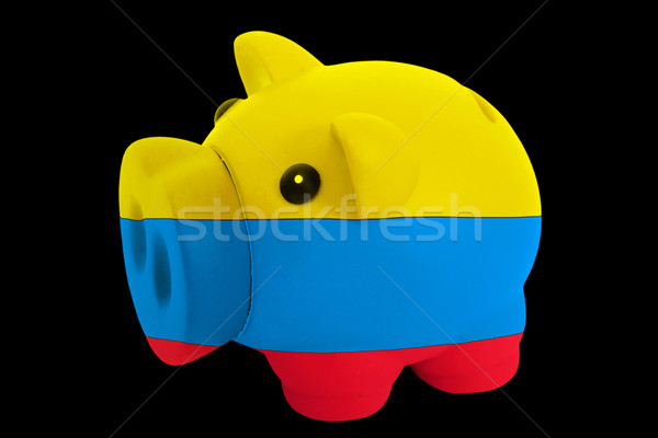 piggy rich bank in colors national flag of columbia   for saving Stock photo © vepar5