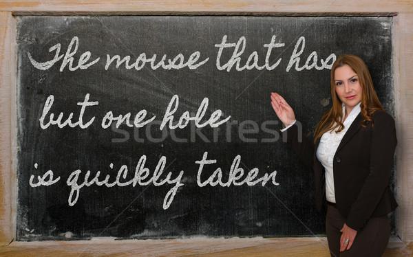 Tanár mutat egér egy lyuk hamar Stock fotó © vepar5