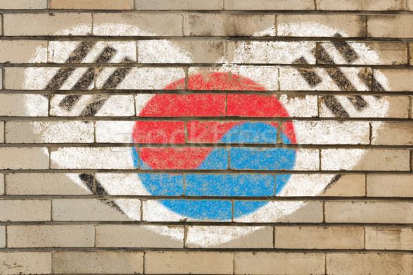 Kalp şekli bayrak Güney Kore tuğla duvar kalp Stok fotoğraf © vepar5