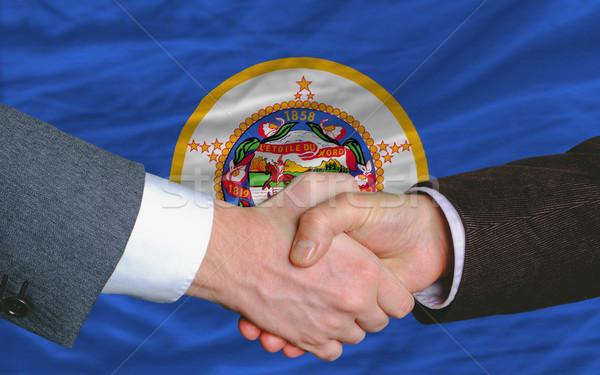 Americano bandeira Minnesota dois empresários aperto de mãos Foto stock © vepar5