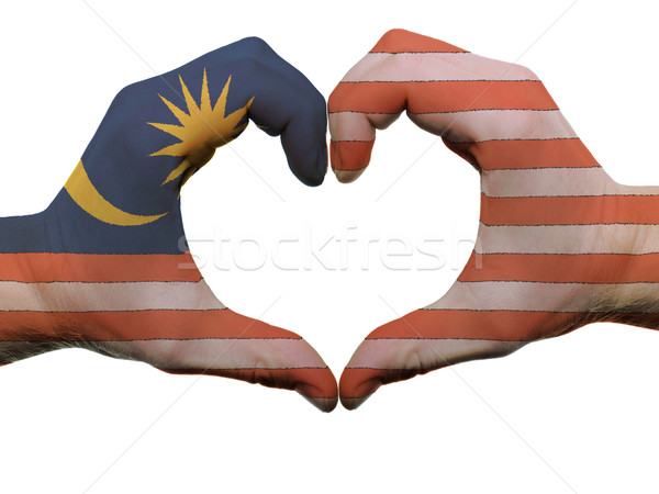 Heart and love gesture in malaysia flag colors by hands isolated Stock photo © vepar5
