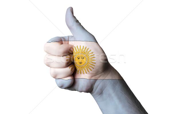アルゼンチン フラグ 親指 アップ ジェスチャー 卓越 ストックフォト © vepar5