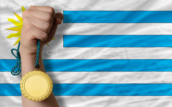 Gouden medaille sport vlag Uruguay winnaar Stockfoto © vepar5