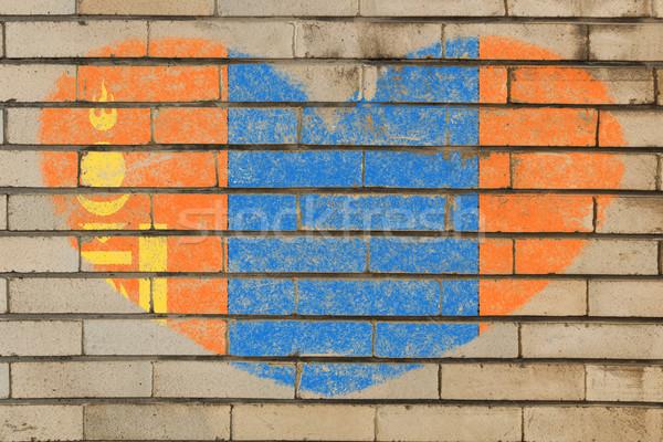 A forma di cuore bandiera Mongolia muro di mattoni cuore Foto d'archivio © vepar5