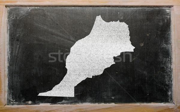 Stock photo: outline map of morocco on blackboard