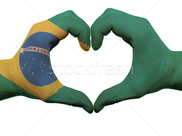 Stock photo: Heart and love gesture in brazil flag colors by hands isolated o