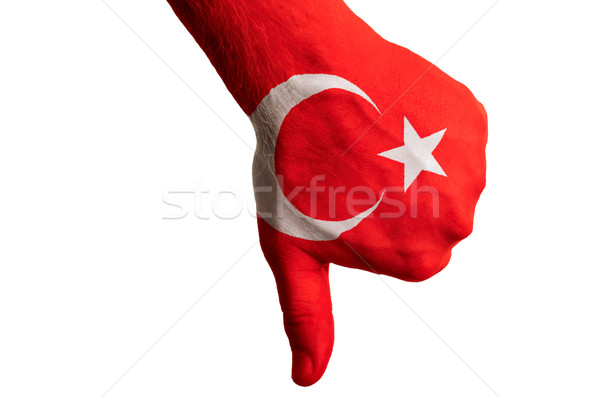 turkey national flag thumb down gesture for failure made with ha Stock photo © vepar5