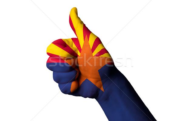 Foto stock: Arizona · bandeira · polegar · para · cima · gesto · excelência